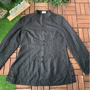 Madame Butterfly Blouse Long Sleeve Black Size 10